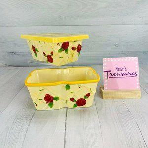 Temptations Yellow Red ROSE Retangle Bakers Set 2